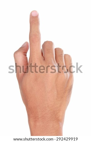 A portrait of forefinger pressing imaginary button, hand gesturing, isolated in white background - stock photo