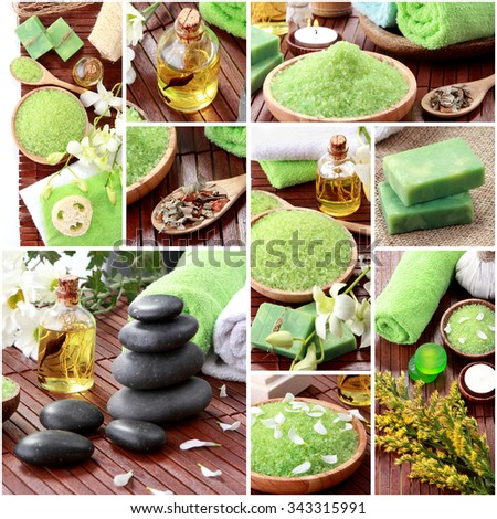 A portrait of Green spa concept collage. soap and essentials spa objects - stock photo