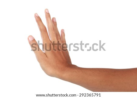 A portrait of hand showing push gesture, isolated in white background - stock photo