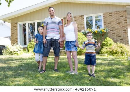 Happy Family In Front Of House | www.pixshark.com - Images ... Happy Asian Family In Front Of House