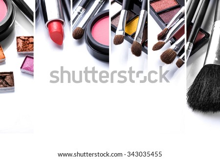 A portrait of make up and its various brushes, close up. with copyspace for your text - stock photo