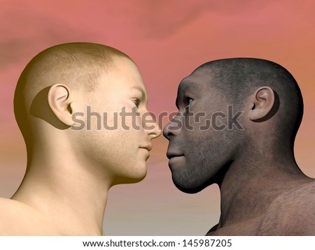 A portrait of modern human facing Homo Erectus man in colorful background - stock photo