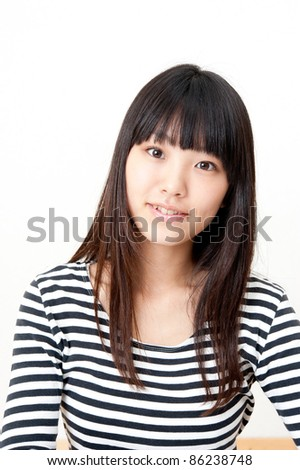 a portrait of pretty asian woman looking isolated on white background - stock photo
