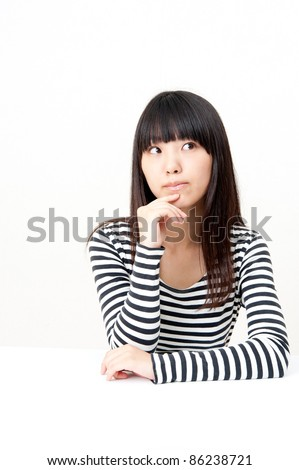 a portrait of pretty asian woman thinking isolated on white background - stock photo