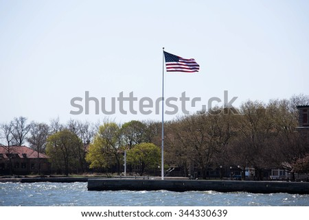 A portrait of the city New York places and famous places. Flag Of America - stock photo