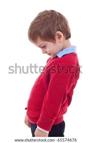 A portrait of thoughtful little boy; isolated on the white background