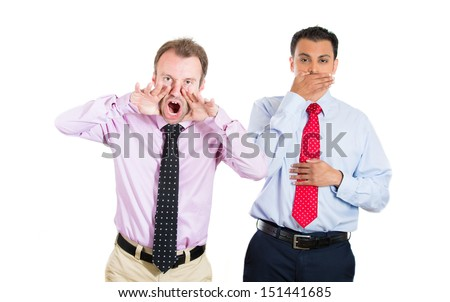 A portrait of two businessman, co-workers, guys: one being aggressive, angry, yelling out laud, the other keeping his mouth close, shy, modest and polite;isolated on white background. Emotion contrast