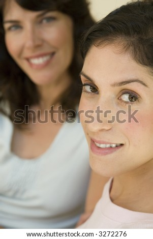 A Portrait of two young ladies - stock photo