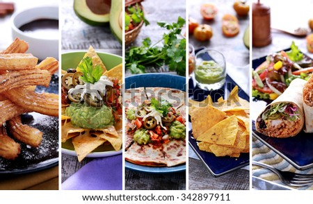 A portrait of various mexican food buffet, close up - stock photo