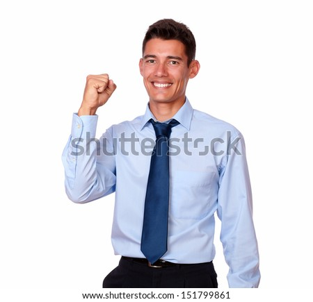 ecstatic african american businessman stock image male