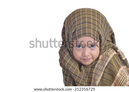 A Portraiture of Muslim kid or Portrait of a self confident girl on white background - stock photo