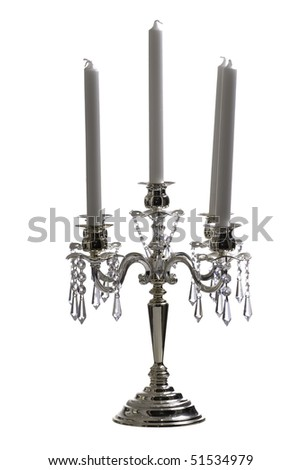 A 5 post candelabra isolated against a white background - stock photo