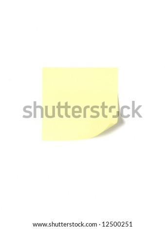 A post it on a desk in an office isolated on white - stock photo