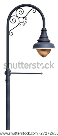 A post supporting a street lamp, with decorative scroll work and a place for a banner