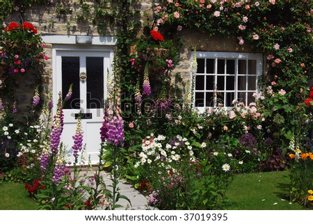 A Postcard View Of English Cottage Garden