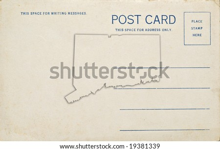 A postcard with a Connecticut state map outline. Dirt and scratches at 100%.