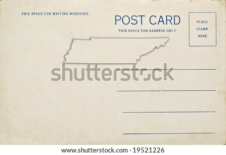 A postcard with a Tennessee map outline. Dirt and scratches at 100%.