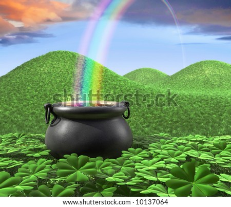 A pot at the end of the rainbow shown surounded by a lucky clover garden and roling hills of grass in the background. - stock photo