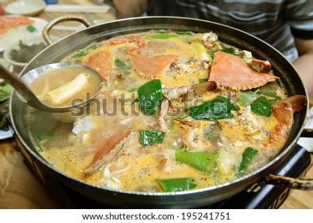 A pot of crab soup (korean cuisine)  - stock photo