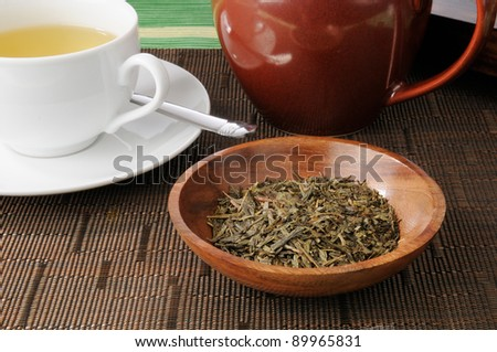 A pot of fresh whole leaf China Sencha green tea