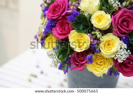 A pot of roses (yellow roses, pink roses) - flower design, flower decoration - a special gift for women's day
