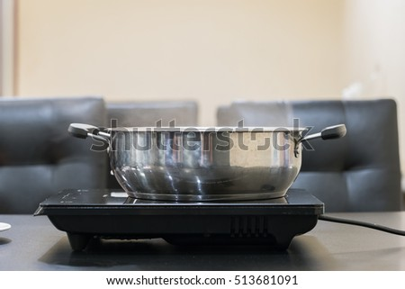 A pot on a gas cooker (boiling water for cooking)