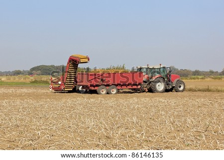 a potato harvesting machine with two red tractors working in a field under a blue sky in autumn