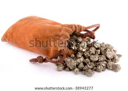 A pouch of fool's gold (iron pyrite) nuggets - stock photo