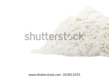 a pound of flour close up on the white