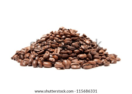 A pound of well roasted arabica coffee beans - stock photo