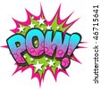 A Pow Comic Book Illustration Isolated on  White Background - stock photo
