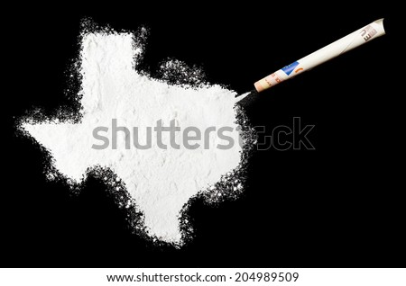 A powder drug like cocaine in the shape of Texas with a rolled money bill.(series) - stock photo