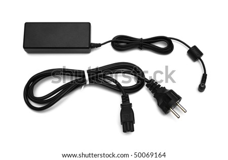 a power pack for a laptop isolated on white - stock photo
