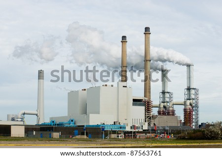 A power plant for the production of electricity - stock photo