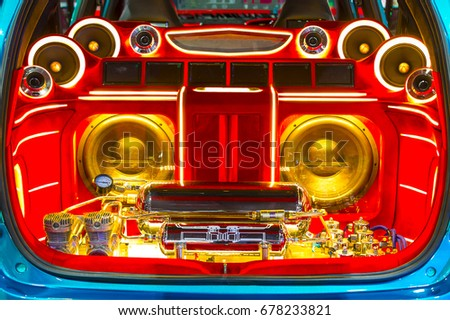 sound system speakers for cars. a powerful audio system with amplifiers speakers and lcd monitors in the car trunk. sound for cars 0