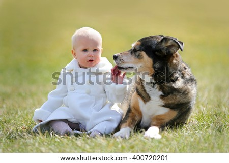 A precious 13 month old baby girl in a faux fur white pea-coat, is sitting outside on the grass with her pet German Shepherd dog, as he licks her hand on a Spring day. - stock photo