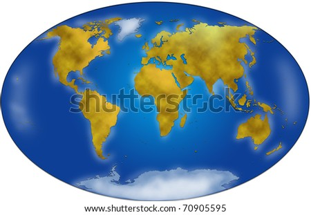 A precise planisphere. Complete map of the world. - stock photo