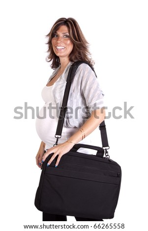 A pregnant business woman holding her black bag with a happy expression on her face.