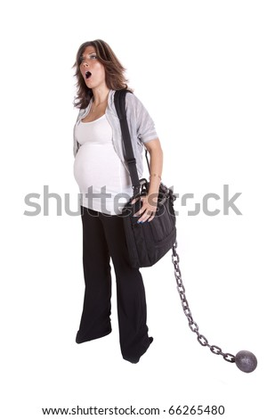 A pregnant business woman with her black bag and chain showing how tired she is  by yawning.