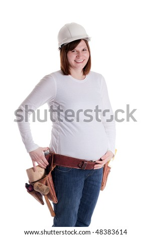 a pregnant construction worker with hard had and tool belt