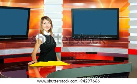 a pregnant television anchorwoman at a TV studio