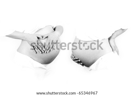 A pregnant woman in black and white - stock photo