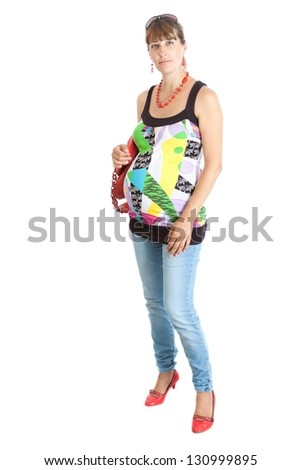 A pregnant woman (9 months) with a red bag. Isolated on white - stock photo