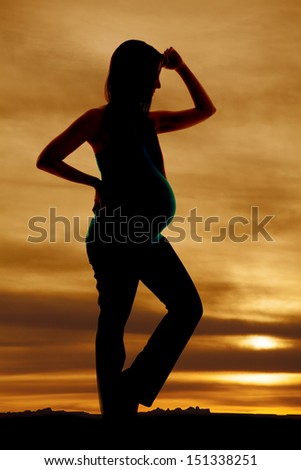 A pregnant woman silhouetted in the sunset. - stock photo