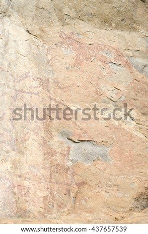 A prehistoric cave painting in Loei - Thailand - stock photo