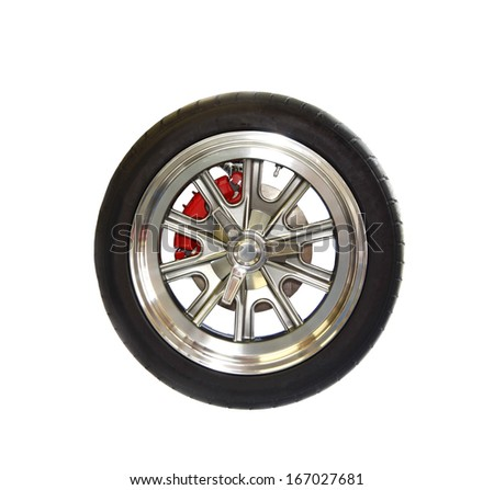 A premium racing tire on a high end magnesium wheel isolated on white - stock photo