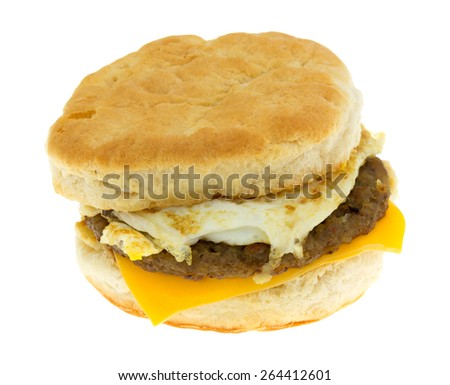 A prepared breakfast sandwich on a white background. - stock photo