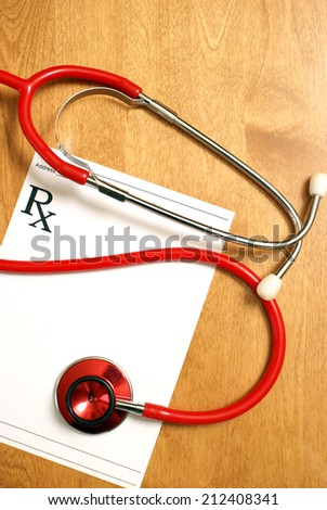 A prescription from a professional healthcare practitioner. - stock photo