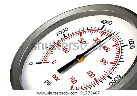 A Pressure Gauge Reading a Pressure of 5000 PSI - stock photo