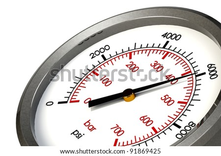 A Pressure Gauge Reading a Pressure of 6000 PSI - stock photo